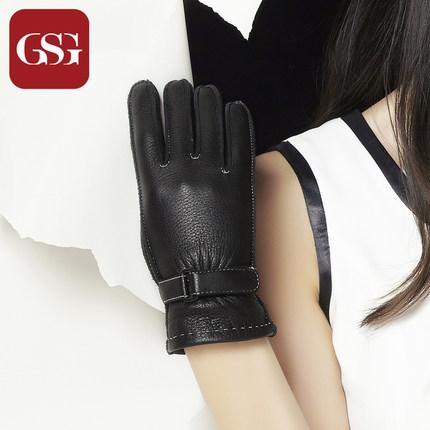 GSG女简约背带鹿皮真皮手套
