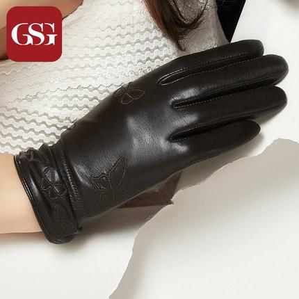 GSG女刺绣蝴蝶真皮手套