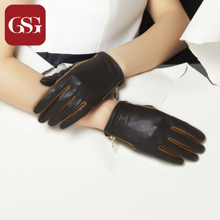 GSG女个性镂空短款真皮手套