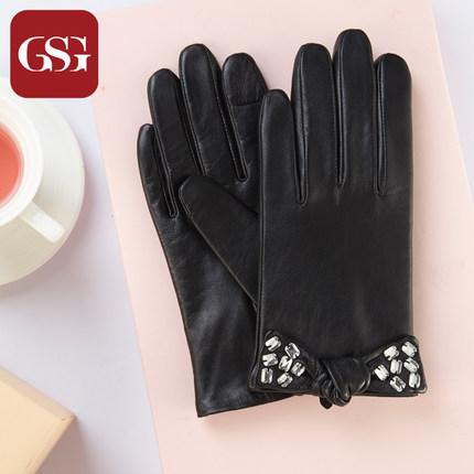 GSG女蝴蝶结镶钻真皮手套