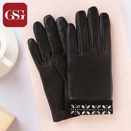 GSG女花式镶钻真皮手套