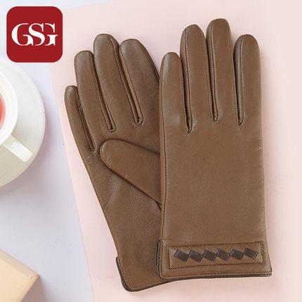 GSG女手工编织羊皮手套