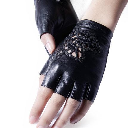 GSG女半指机车款真皮手套