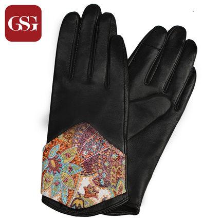 GSG女拼贴花纹真皮手套