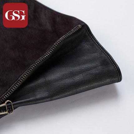 GSG女系带长款马毛真皮手套