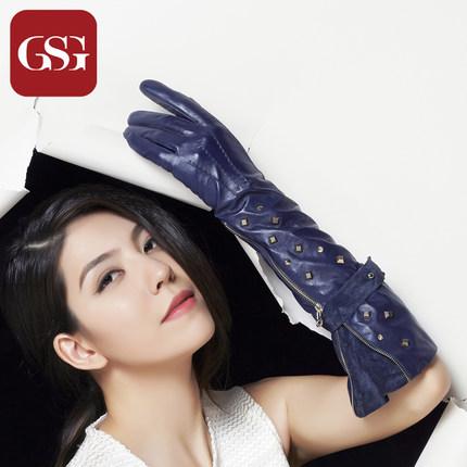 GSG女闪耀时刻铆钉真皮手套