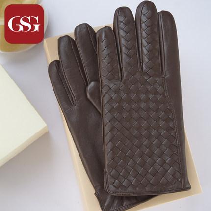 GSG男士拼色百搭真皮手套