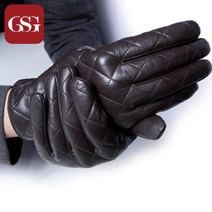 GSG男撞色菱格真皮手套