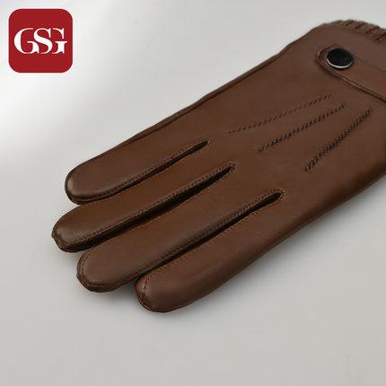 GSG男螺纹统口真皮手套