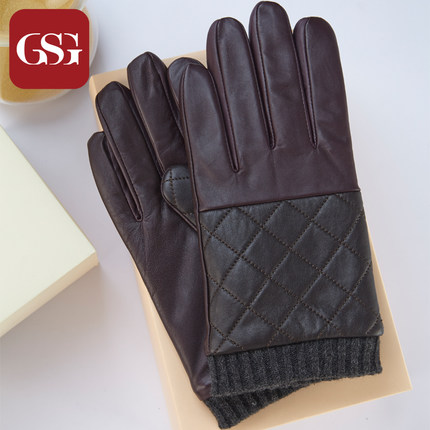 GSG男菱格花纹真皮手套