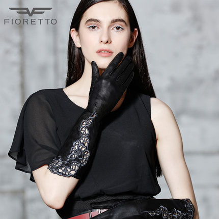 FIORETTO镂空绣花长款女真皮手套