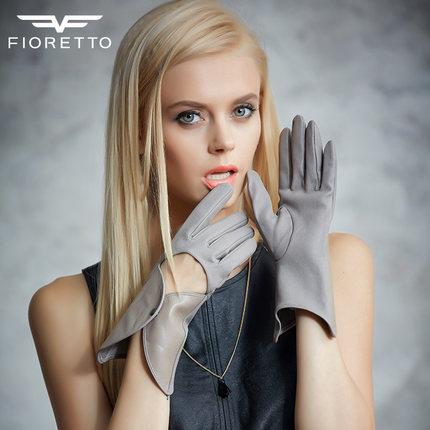 FIORETTO手腕折合女士真皮手套