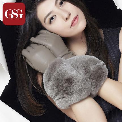 GSG女晚宴轻奢獭兔毛真皮手套