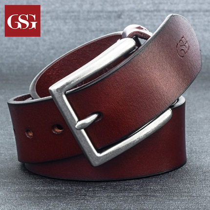 GSG男士针扣粗犷手工艺术真皮皮带