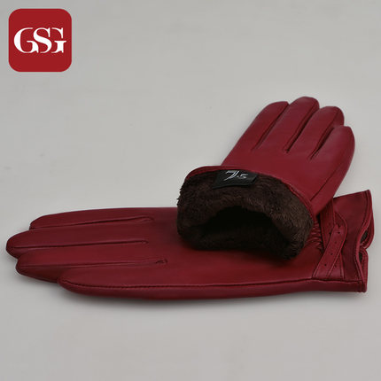 GSG女立体皮绳交叉真皮手套