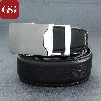 GSG优雅荔枝纹商务真皮皮带